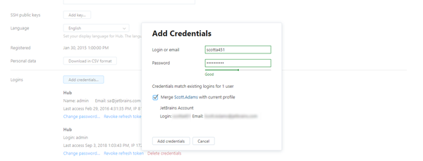 Add credentials match