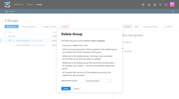Delete group confirmation dialog
