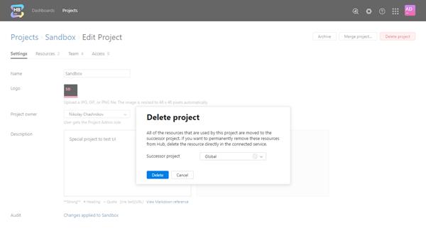 Delete project dialog