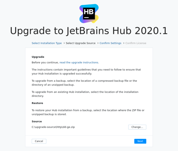 Upgrade Hub: Select upgrade source