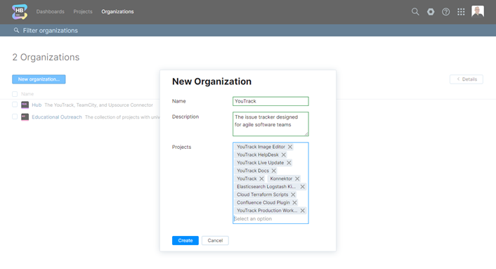 The New Organization dialog.