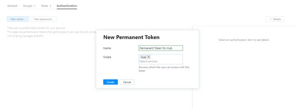 New permanent token dialog.