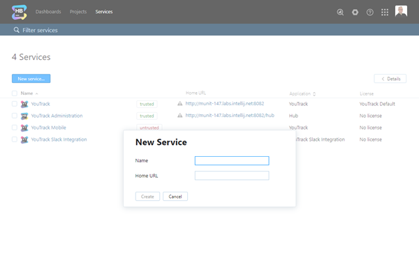 a dialog for adding a new service to Hub