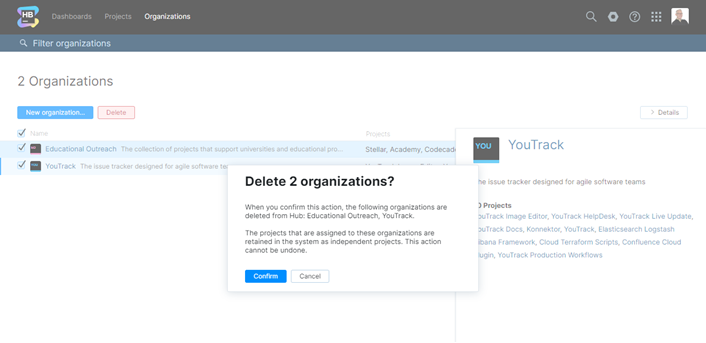 Confirmation for deleting multiple organizations.