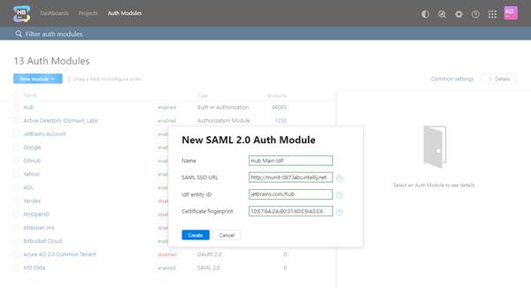 Saml hub2hub auth module create