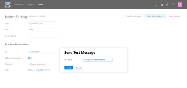 Send test message jabber