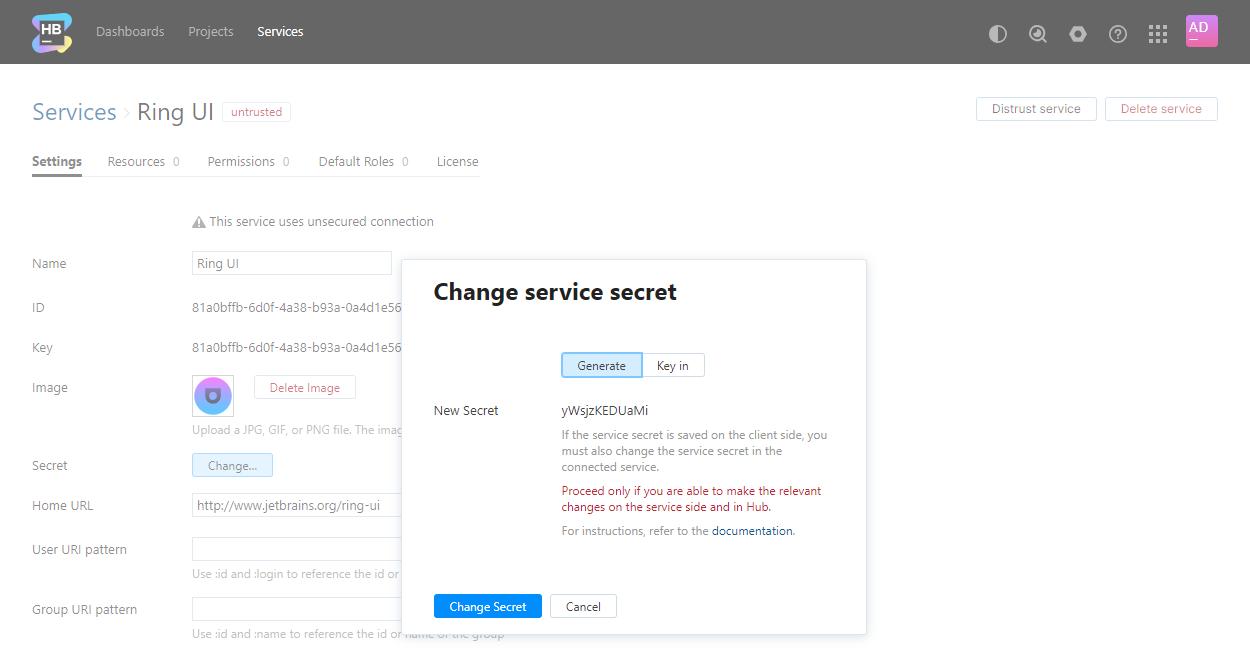 Change service secret dialog