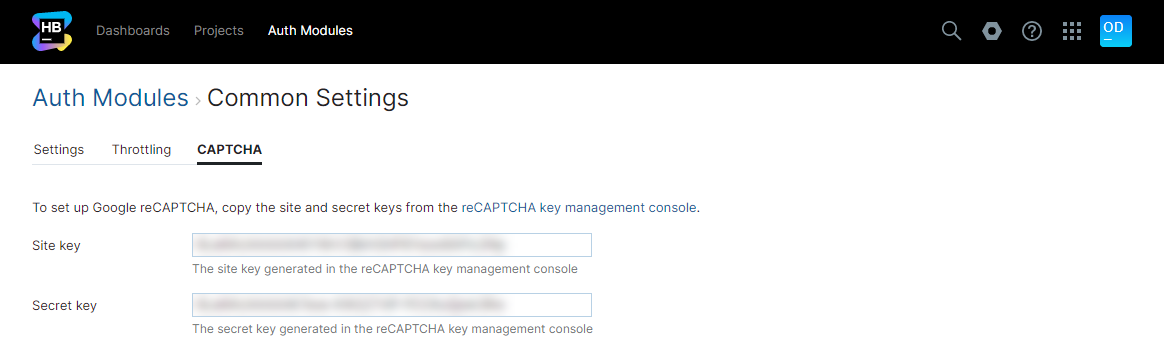 Common settings captcha