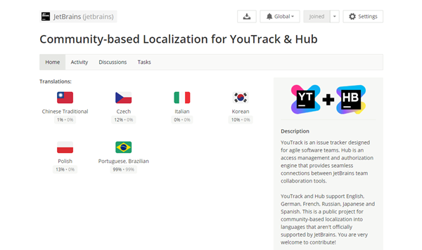 Crowdin project for community-based localization in YouTrack and Hub.