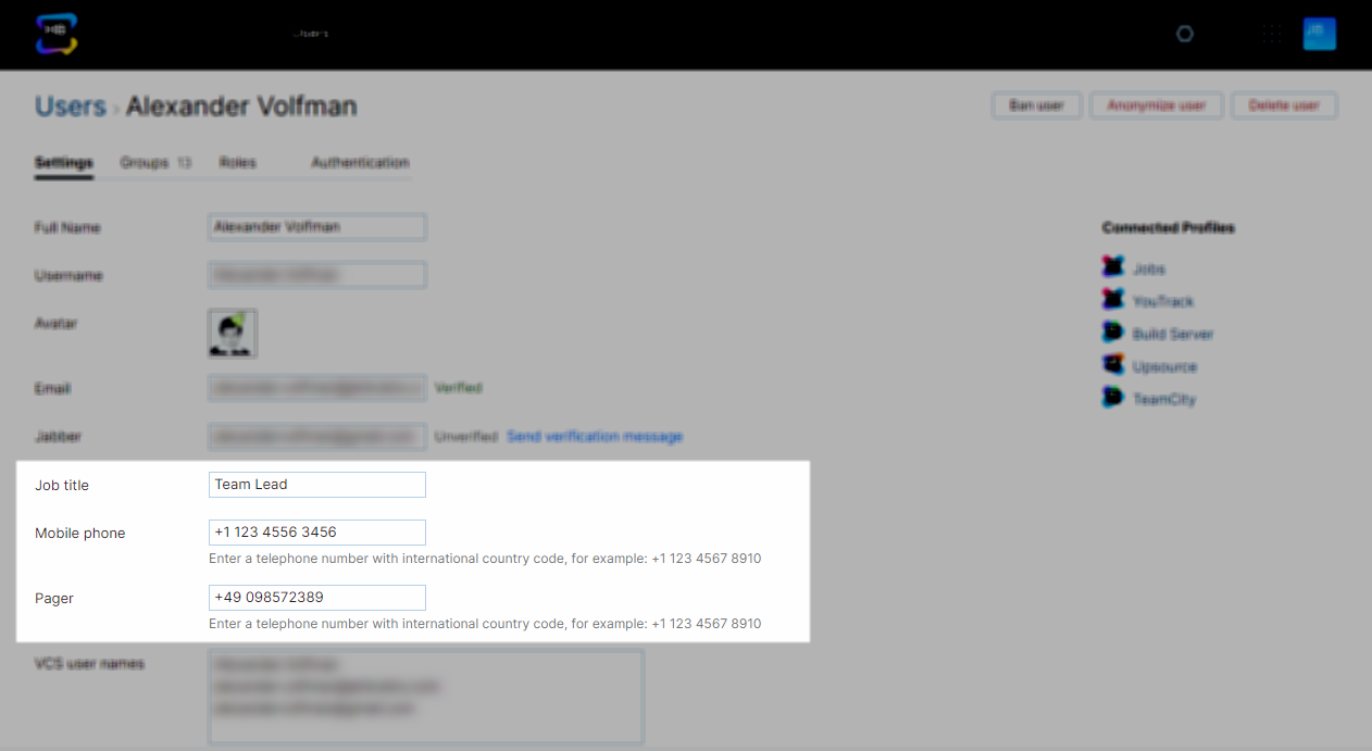 Custom attributes list in a user profile page.