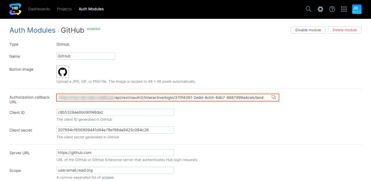 Github auth authorization callback