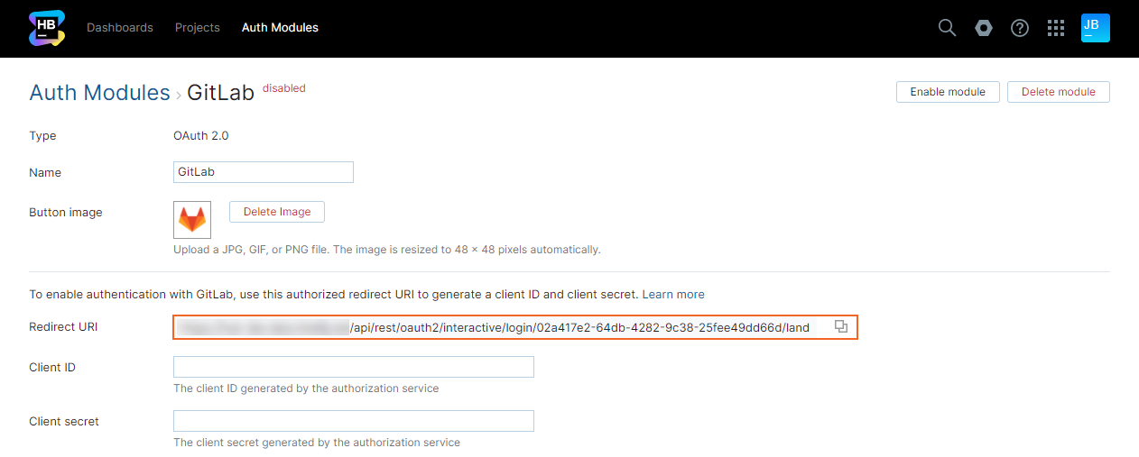 Gitlab auth redirect uri