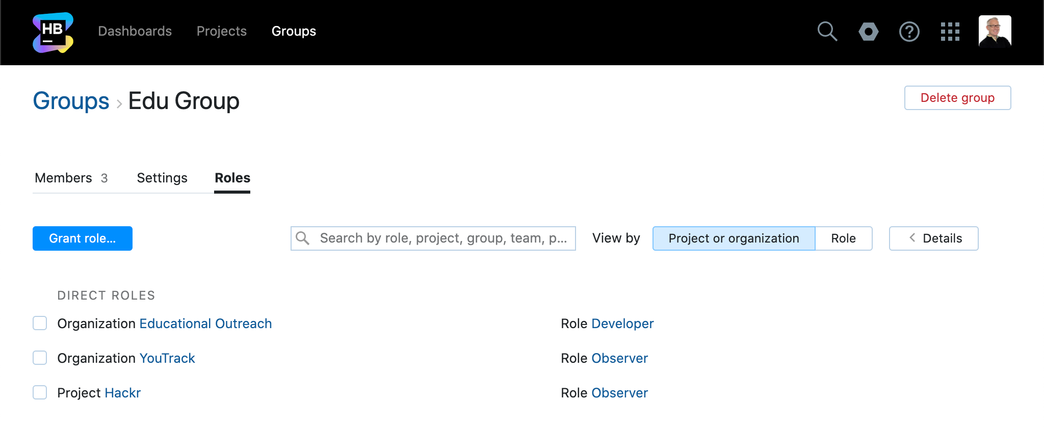 Group roles by project