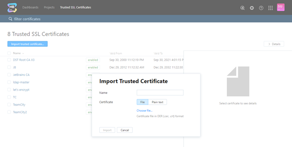 Import trusted certificate