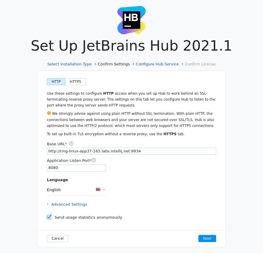 Install hub confirm settings