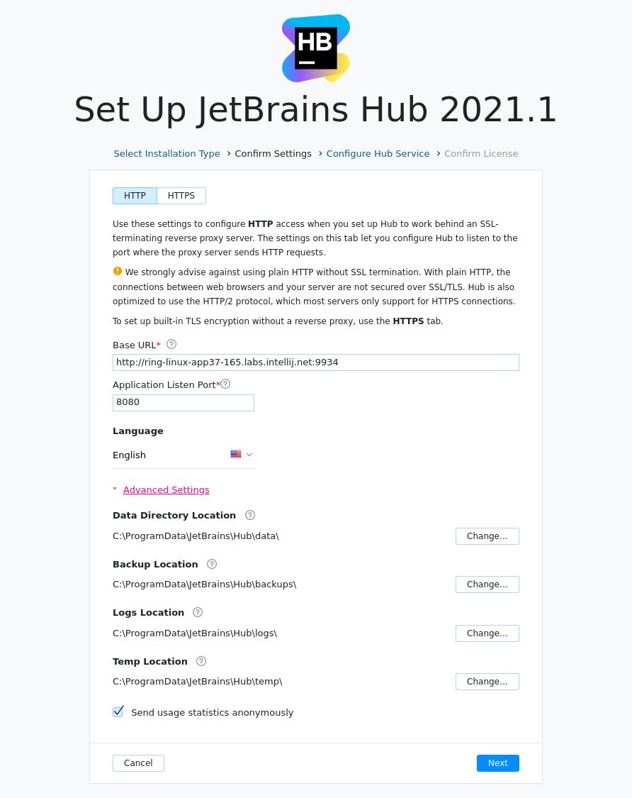 Install hub advanced settings