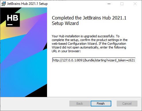 Upgrade with MSI: Setup wizard complete.