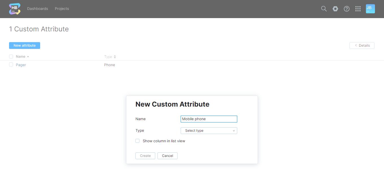 The New Custom Attribute dialog.