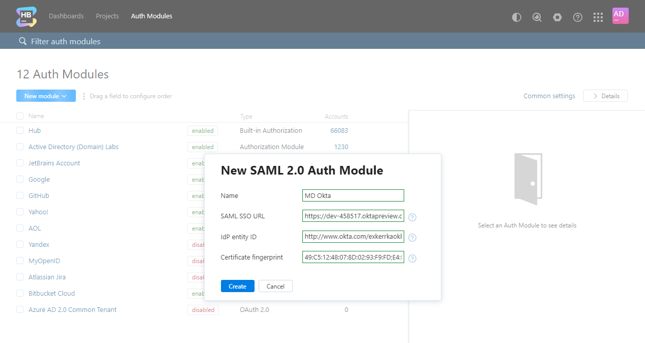 Okta idp create new auth module hub