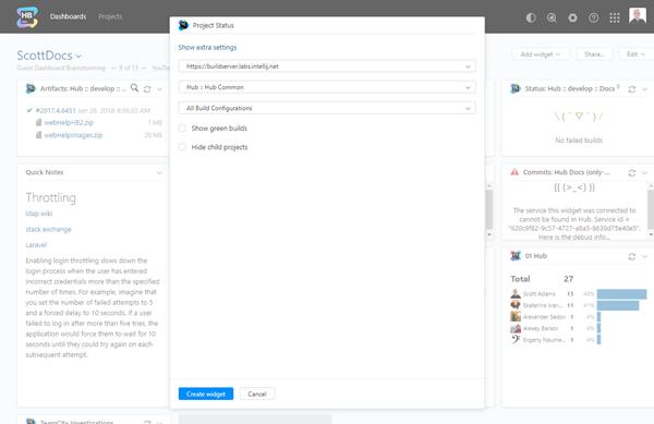 Project status widget configuration