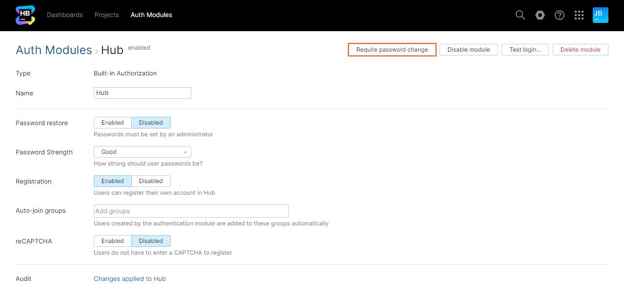 Require password change hub auth