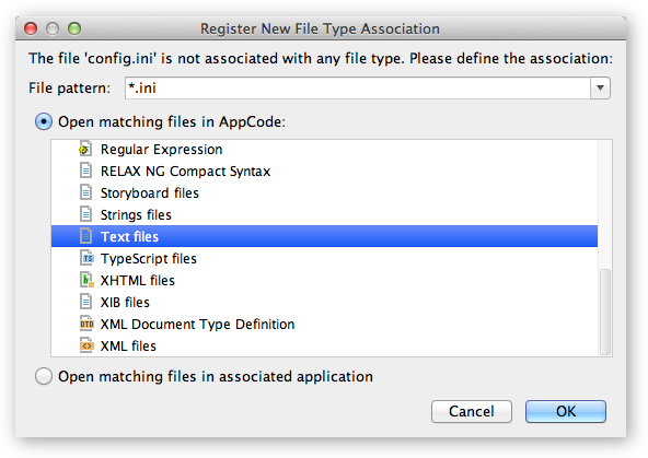 Register New File Type dialog box