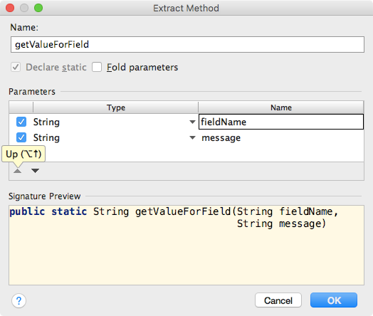 Final settings in extract method dialog