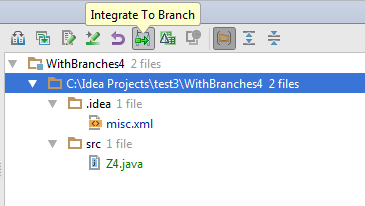 Integrating files to a branch from the Merge Info pane