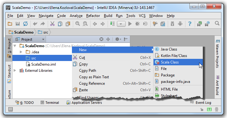 how to create test class in intellij