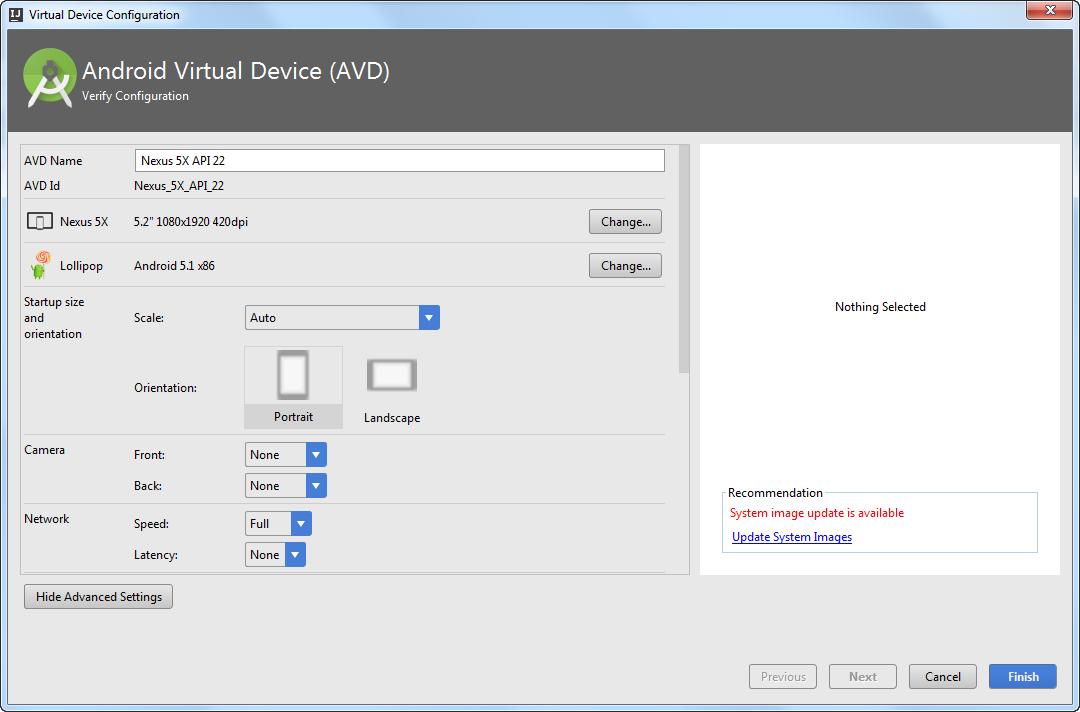 AVD advanced settings