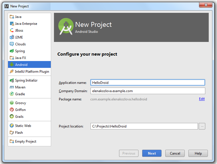 Android new project step one