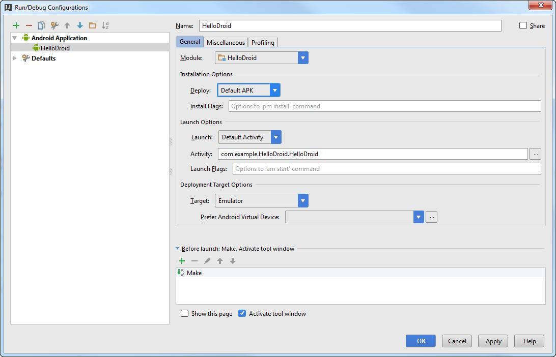 Android run debug config
