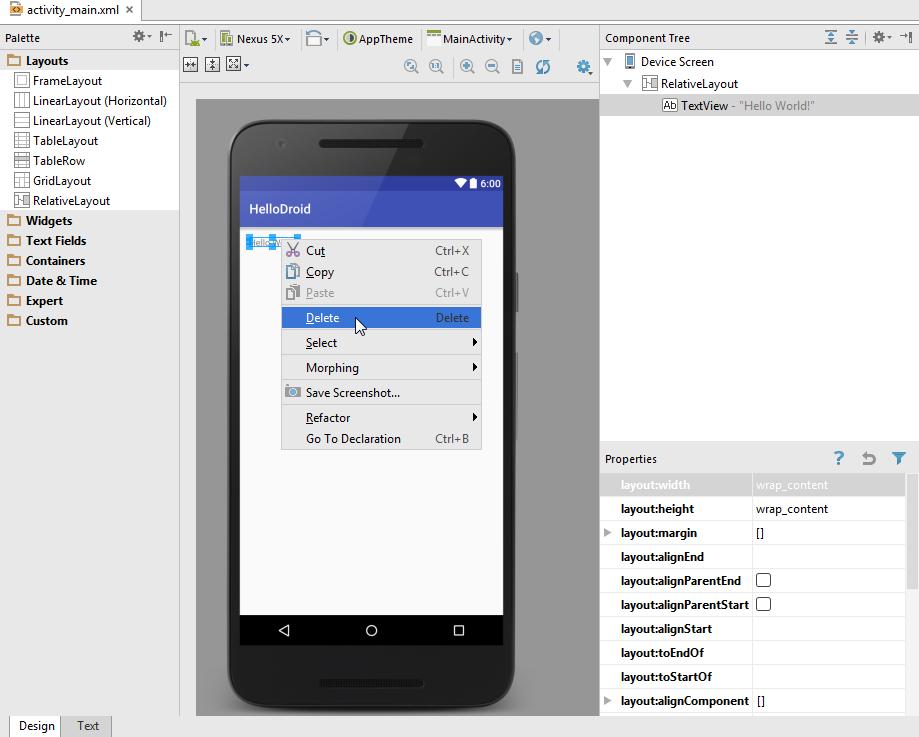 Android ui designer delete text