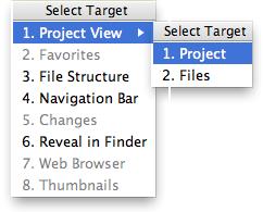 AppCode: Select Target popup