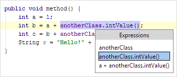 IntroduceField Java InPlace SelectExpression