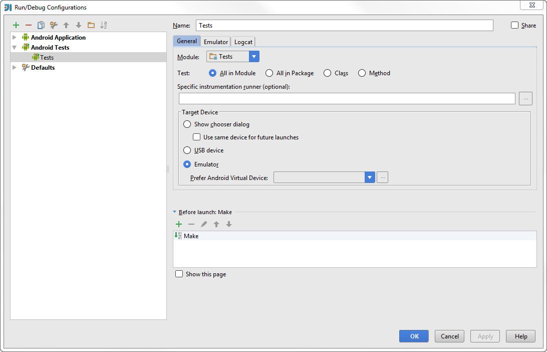 android run debug config tests