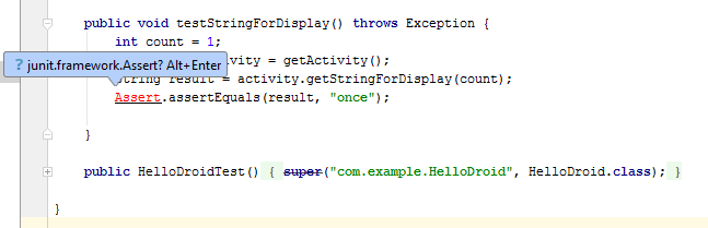 android test assertion