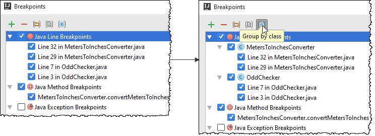 breakpoint group by class