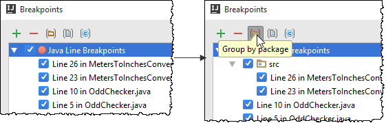 breakpoint group by package