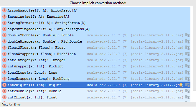choose implicit conv