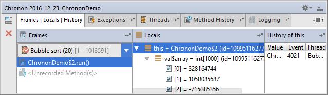 chronon tool window