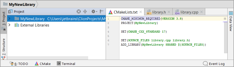 cl NewProjectCMake