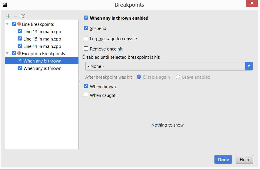 cl configuringExceptionBreakpoint