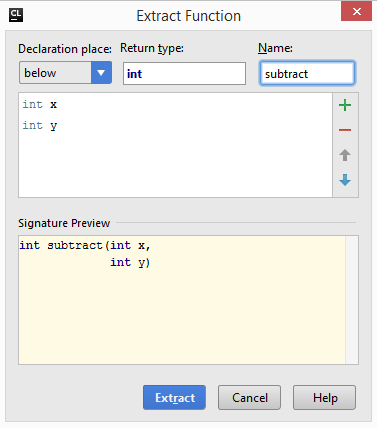cl extractMethodDialog