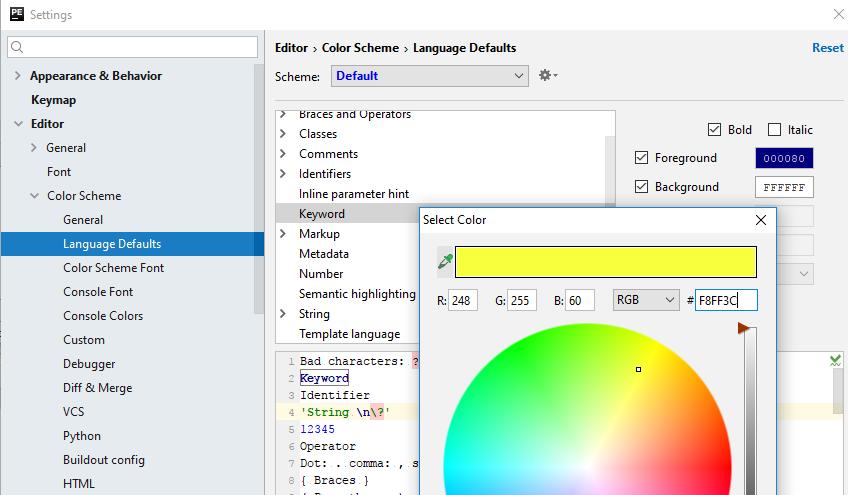 configuring language defaults