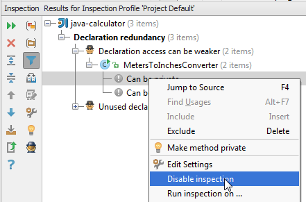 disableInspection in results