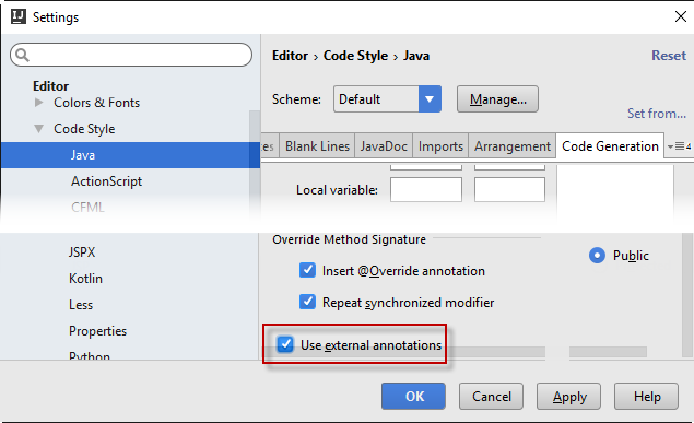 enable external annotations