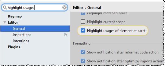 highlight usages option