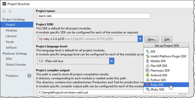 ij configure ruby sdk new