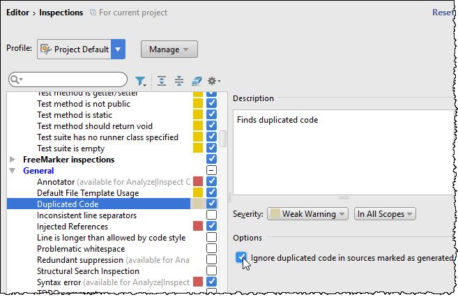 ij duplicated code inspection